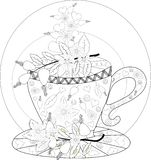 Hand draw vector coloring book for adult. Teatime. Cups of tea, fruits and flowers. Hand draw vector coloring book for adult. Teatime. Cups of tea, fruits stock image
