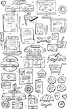 Hand draw vector Doodle icons set.Selling cars on internet and in car stores . Royalty Free Stock Image