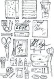 Hand draw vector girls stuff black icons set  on white background Stock Photography