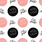 Hand draw vector illustration on white background. pink color. American hamburger, Cheeseburger. Lettering. Seamless pattern royalty free illustration