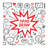 Hand draw vector illustrations. Arrows, objects, balloons and other design elements. Hand draw infographic elements - vector set. Hand draw design elements Stock Photography