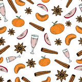 Hand draw vector seamless pattern with mulled wine ingredients. Wrapping paper or kitchen textile design Royalty Free Stock Images
