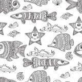 Hand draw vector seamless pattern ornament fishes.  Royalty Free Stock Photography