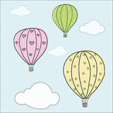 Hand draw vintage balloon Stock Photography