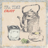 Hand draw vintage label tea. old kettle a cup a box of tea, tea leaves Stock Image