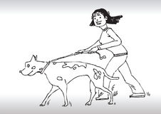 Hand draw walking dog Stock Photos