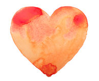 Hand draw watercolor aquarelle art paint love red. Heart Stock Photography