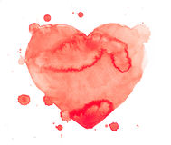 Hand draw watercolor aquarelle art paint love red. Heart with drop splatter stain Stock Images