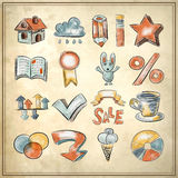 Hand draw watercolor icon collection on grunge Stock Image