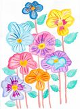 Hand draw watercolor of Pansies Flower illustration stock photo