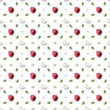 Watercolor pattern of red apples, leaves and blossoms vector illustration