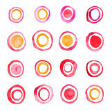 Hand draw watercolor rings circle round stains art Royalty Free Stock Image