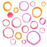 Hand draw watercolor rings circle round stains art Stock Photo