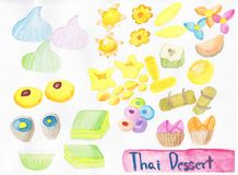 Hand draw watercolor of Thai dessert illustration stock images