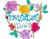 Hand draw watercolor of valentine day illustration royalty free stock photography
