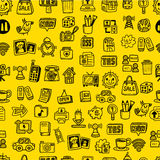 Hand draw web icons seamless pattern Stock Image