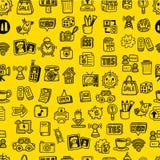 Hand Draw Web Icons Seamless Pattern Stock Image