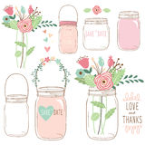 Hand Draw Wedding flower Mason Jar Stock Photos