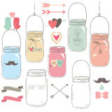 Hand Draw Wedding Mason Jar royalty free illustration