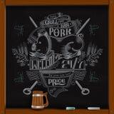 Hand draw white chalk on board pork on skewer grill bar advertisin Stock Photo
