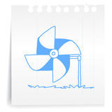 Wind turbine cartoon_on paper Note. Hand draw wind turbine cartoon_on paper Note Vector Illustration