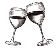 Hand draw wine cup Stock Images