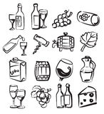 Hand draw wine. Vector hand draw wine icons set on white Royalty Free Stock Image