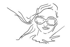 Hand Draw Woman Face With Glasses - sketch  Stock Photo