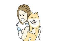 Hand draw woman hug pomeranian dog with white background Stock Photo