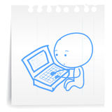 Working tired cartoon_on paper Note Stock Photos