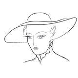 Hand draw young woman in hat. EPS 8 Royalty Free Stock Images