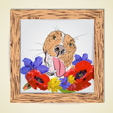Hand drawb red dog smile with flowers stock illustration