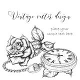 Hand Drawi Vintage Postcard. A Pocket Watch On A Chain And Flowers. Vector Illustration Stock Photos