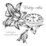 Hand drawi vintage postcard. A pocket watch on a chain and flowers. Vector illustration Stock Images