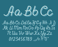Hand drawin alphabet handwritting abc vector font. Italic type letters, numbers and punctuation marks vector illustration