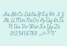 Hand drawin alphabet handwritting abc vector font. Italic type letters, numbers and punctuation marks Royalty Free Stock Images