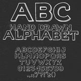 Hand drawin alphabet handwritting abc vector font. Type letters, numbers and punctuation marks Royalty Free Stock Images