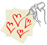 Hand Drawind Hearts. Royalty Free Stock Photo