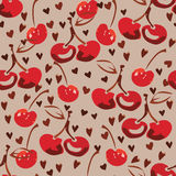 Hand drawind red cherry pattern Stock Photography