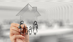 Free Hand Drawing 3d House With Family Icon Stock Images - 41324384