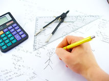 Hand drawing. Business work table Royalty Free Stock Photos