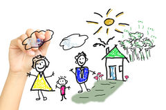 Hand Drawing A Happy Family Royalty Free Stock Photography