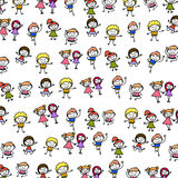 Hand drawing abstract cartoon happy kids background Stock Image