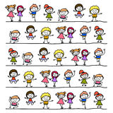 Hand drawing abstract cartoon happy kids Royalty Free Stock Images