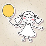 Hand drawing abstract people happy kid happiness concept. Illustration vector eps10 Stock Photography