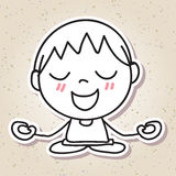 Hand drawing abstract people happy kid happiness meditation conc Stock Photos