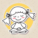 Hand drawing abstract people happy kid happiness meditation conc Stock Photography