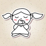 Hand drawing abstract people happy kid happiness meditation Stock Photos