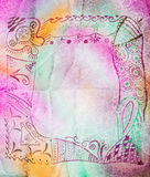 Hand drawing abstract picture on silk batik Royalty Free Stock Image