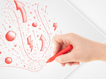 Hand drawing abstract sketches and doodles on paper Stock Photos